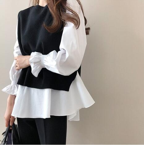 秋冬新作 韓国風 大きいサイズ レディース  長袖シャツ+ニットベストスーツ2セット
