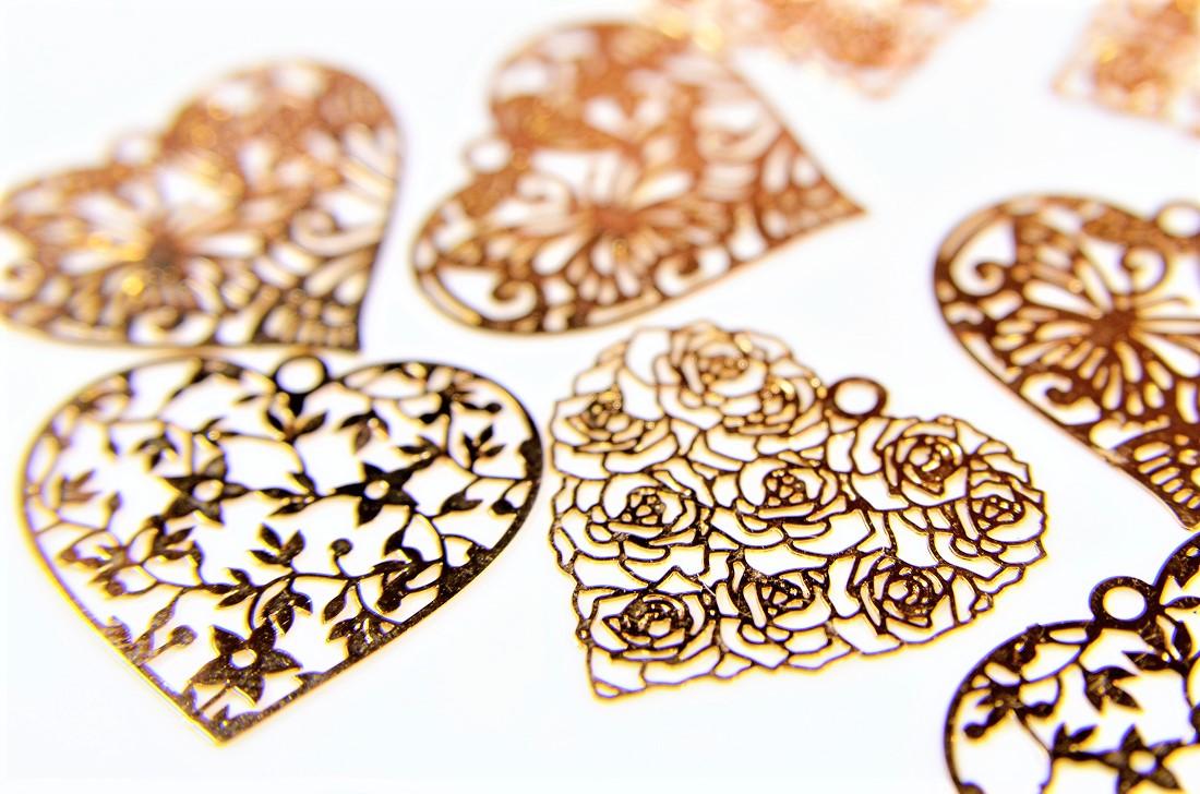 極薄銅製メタル/透かしパーツ/デコパーツ/銅99%高品質&繊細な模様/フラワー/蝶々