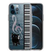 iPhone12 Pro 側面ソフト 背面ハード ハイブリッド クリア ケースpiano ピアノ 2 猫ふんじゃった