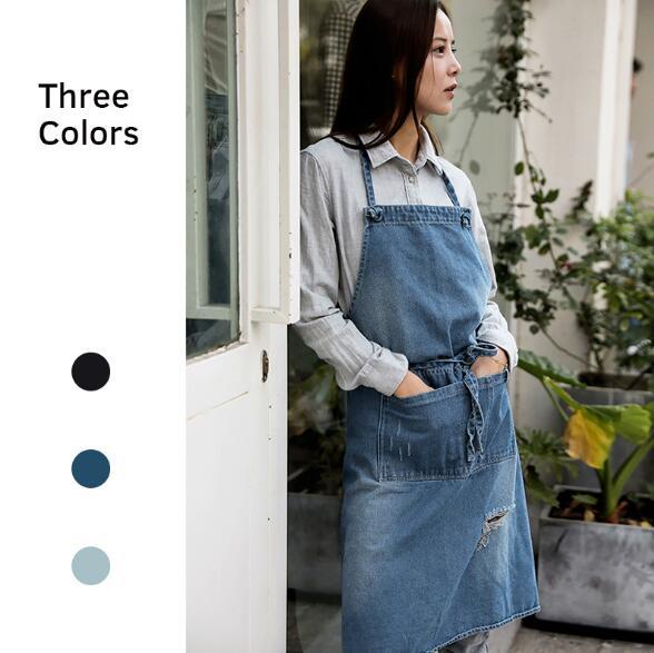 エプロン デニム風 男女兼用 袋付き 携帯入れ 便利 3色 シンプルエプロン キッチン花屋の作業服
