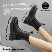 ブーツ レディース 靴 シューズ ショートブーツ 厚底 黒 ジップアップブーツ 即納