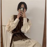 INSスタイル レトロ 上品映え レース ウエスト ベスト+長袖 sweet系 シャツ 2点セット