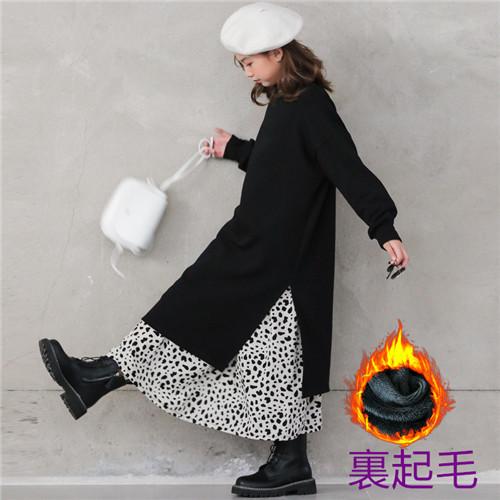 m16561 ドレス &スカート分けて販売 厚手 裏起毛付き 長袖 秋冬 新作 韓国子供服 人気商品 親子服