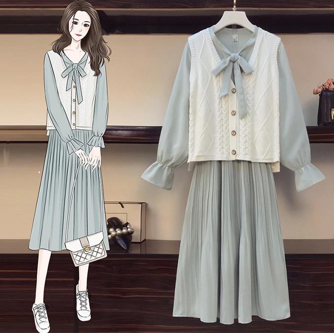 ビックサイズ レディースファッションが春秋 新作 セーター ベスト+ワンピース2点セット 長袖 スーツ