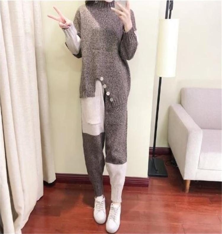 程良い辛さを効かせたデザイン韓国ファッション新品 セットセーター ハーランパンツ 2点セットおしゃれな