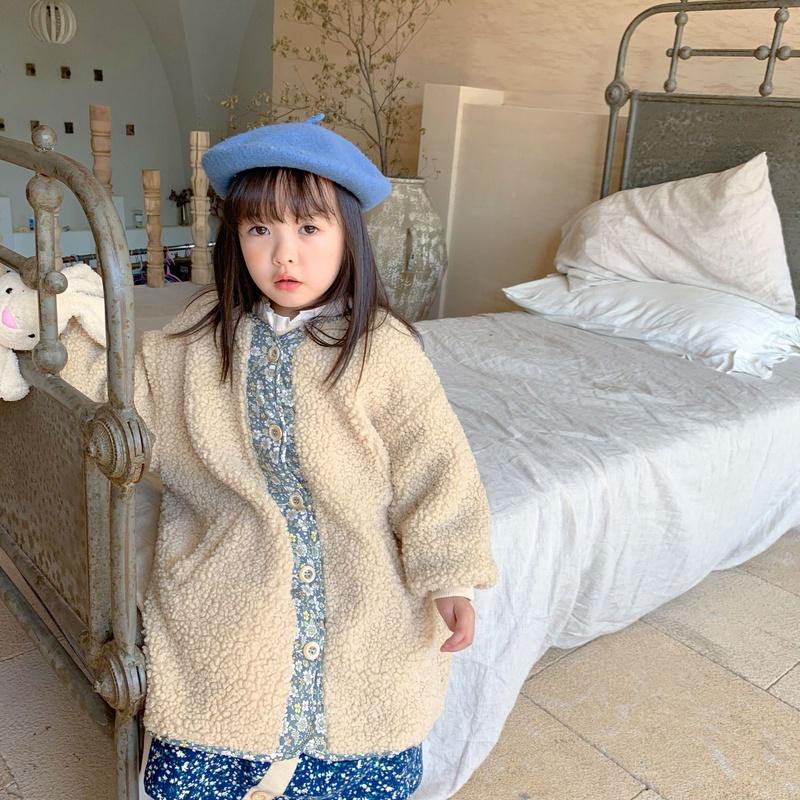 【KID】冬コート 花柄コート 暖かい子供服 無地 シンプル 冬秋