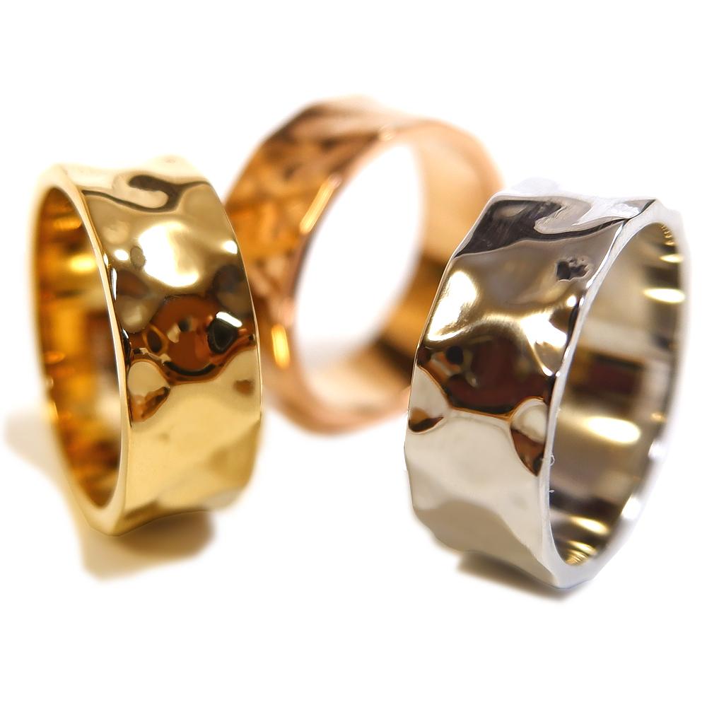 リング 指輪 平打ち 太め でこぼこレディース プレゼント ブランド サージカル ステンレス