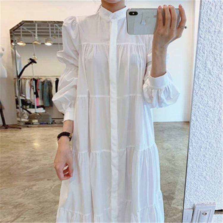 韓国ファッション 気質 単体ボタン ゆったりする シャツ ワンビース 百掛け ロングスカート