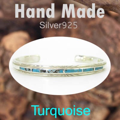 バングル / TQ-B68  ◆ Silver925 シルバー ハンドメイド バングル ターコイズ  N-1201
