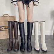 誰もが好きな靴  ロングブーツ 騎士の靴 ジッパー 太いヒール スリム 高品質 歩きやすい 快適である