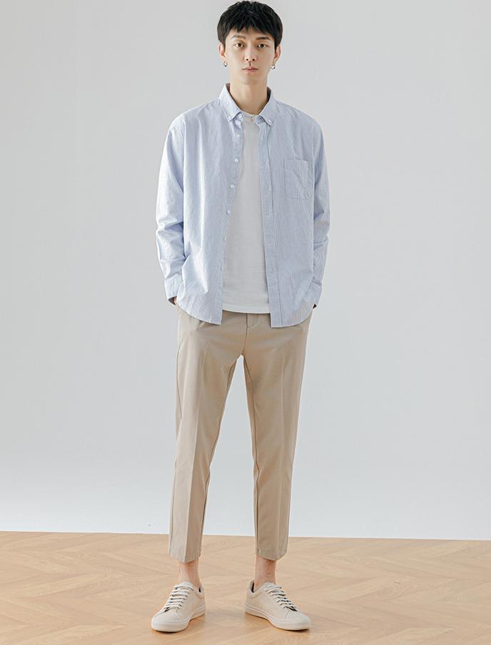 春秋 新作 長袖 ワイシャツ 無地 韓国スタイル シャツ 上着 トップス メンズ 学生