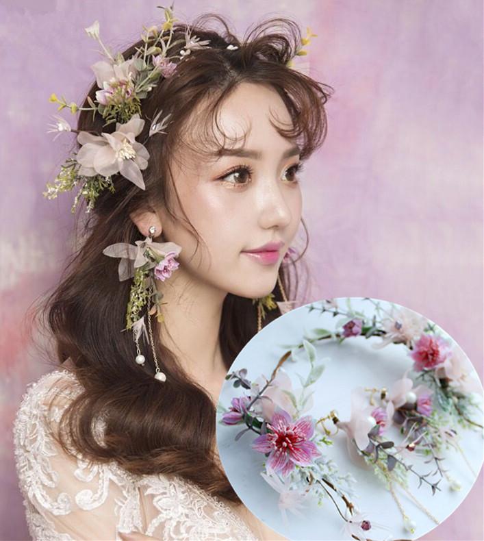 お花の冠+イヤリング 成人式 髪飾りセット 結婚式 森ガール