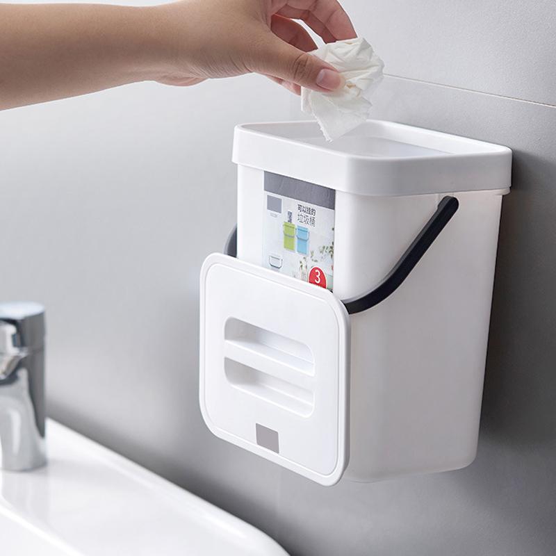 送料無料 壁掛けゴミ箱 蓋付き ゴミ箱 生ゴミ ハンドル付き 210*175*245mm 5L キッチン トイレ お手洗い