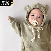 【即納】ベビー服 長袖ロンパース お熊さん 可愛い