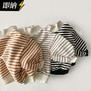 【即納】 ハイネックボーダーフリーストップス 秋冬服   全3色
