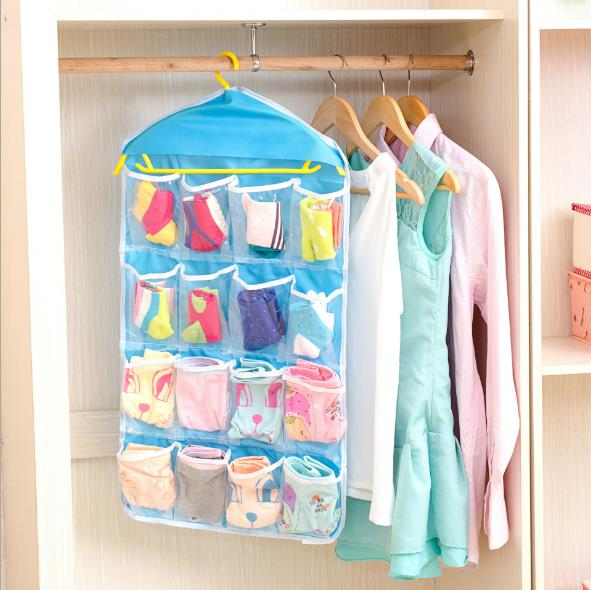 16グリッドの服、靴下、下着収納ハンギングバッグ小物収納仕分けバッグ 超安い