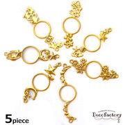 5個 【レジン 枠】 両カン付き デザイン レジン枠 ゴールドカラー (全7種)