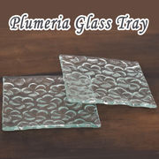 プルメリアガラストレー プルメリア ガラス トレー 1枚 お皿 取皿 食器 洋食器 ガラス食器 キッチン雑貨
