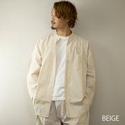 2021新作 ノーカラーシャツ メンズ セットアップ対応 ストライプ柄 バンドカラー ビッグ オーバー シャツ