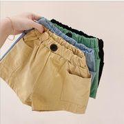 子供パンツ ショットパンツ 4色 カジュアル系 夏 キッズパンツ 80-130 大きいポケットデザイン