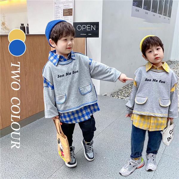 【KID】2021年韓国春新作フェイクレイヤードシャツ 男の子 全2色