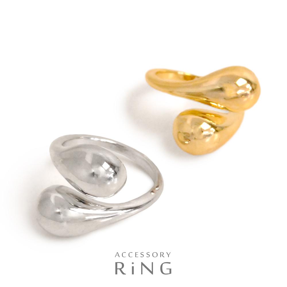 ▼MAGGIO▼【ボリュームたっぷり♪】ダブルドロップメタルリング(指輪)
