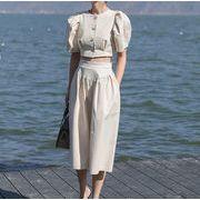 韓国ファッション レディース パフスリープトップス+ハイウエストフレアパンツ セットアップ