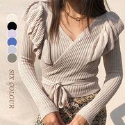 【Women】2021年新春作 この春一枚持ちたいフリル付きVネックセクシーセーター 百掛け