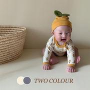 【KID】2021年新作 ベビー服 レモン長袖ロンパース&帽子 可愛い