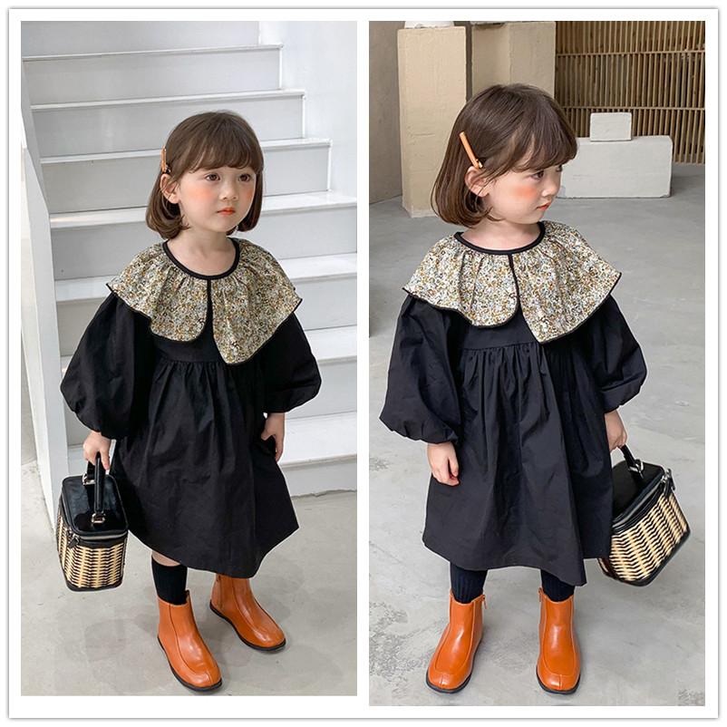 2021新作 キッズ ワンピース 子供服 キッズファッション 3-8歳対応 長袖 フリル襟 女の子 韓国ファッション