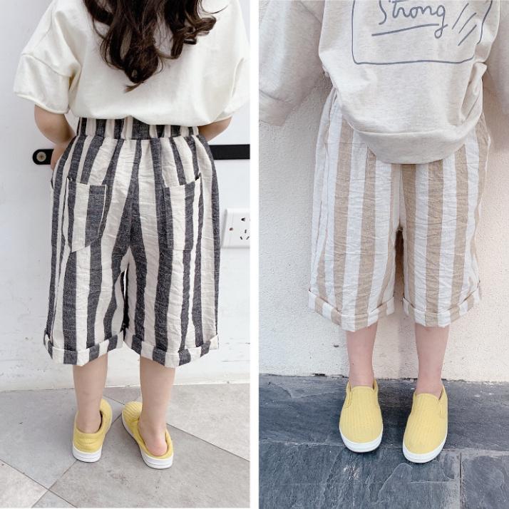 子供服 夏 子供服 韓国スタイル 縞模様 麻綿 クロップトパンツ 女の子 ショートパンツ キッズ 3-8歳