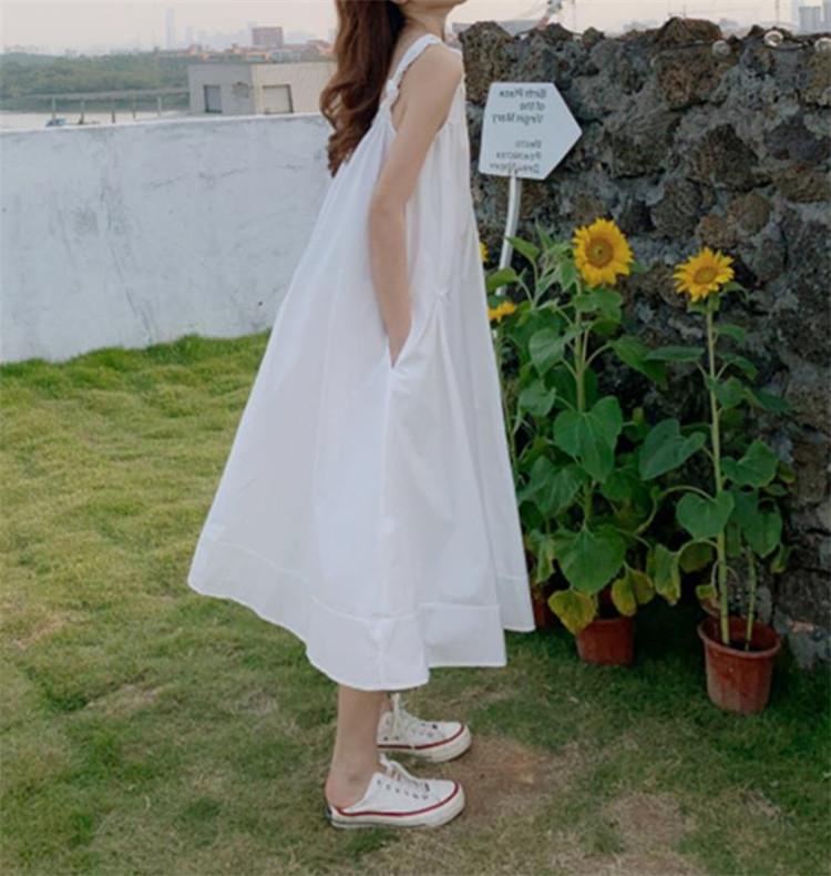 オシャレの幅が広がる INSスタイル 韓国版 ゆったりする ビーチスカート Vネック キャミワンピ 百掛け