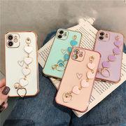 ハートブレスレット付きiPhone12 ケース 韓国 可愛い  iPhoneXS XR スマホケース