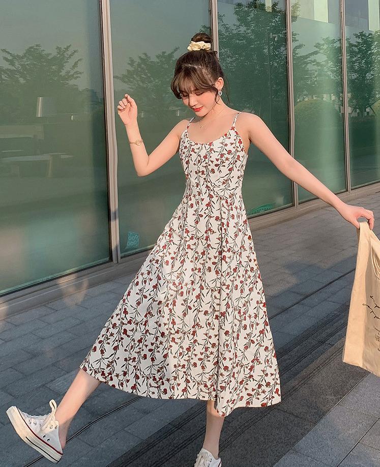 花柄 キャミワンピース 夏 Aラインスカート 韓国スタイル マキシ レディース スカート ワンピース