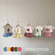 【KID】2021年春夏新作 子供服 ベビー服 半袖シャツ&ショートパンツセット