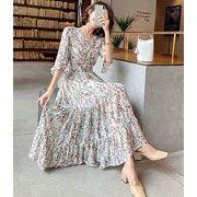 限定SALE ワンピース 夏服 新作 花柄 シフォン マキシ スカート レディース 韓国ファッション