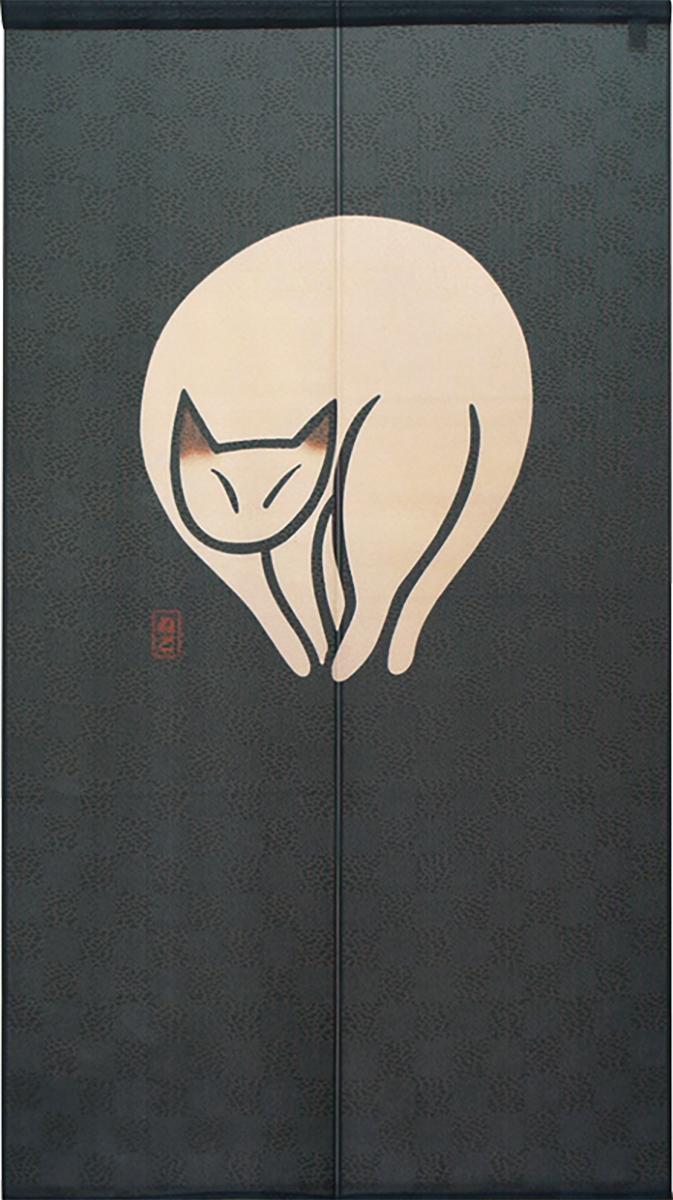 【受注生産のれん】「ねこ_紺」約 幅 85cm × 丈 150cm【日本製】