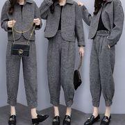 セットアップ レディース グレンチック パンツスーツ ワイドパンツ ツイード パンツドレス