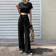 韓国ファッション レディース ショートTシャツ+カジュアルパンツ セットアップ