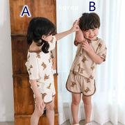 韓国人気新作 ★子供服★ 小さなクマ  ベビー服  半袖  トップス+ズボン  ドレス  かわいい