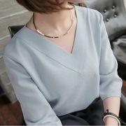 韓国風 春夏 Yシャツ Vネック 可愛い 上品 OL通勤用