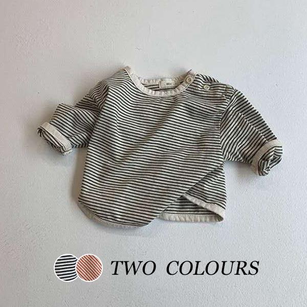 【KID】韓国風子供服 ベビー服 長袖シャツ Tシャツ ボーダー柄 可愛い
