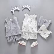 2021夏新作 韓国風子供服 ベビー服 可愛い無袖トップス+ パンツ2点セット