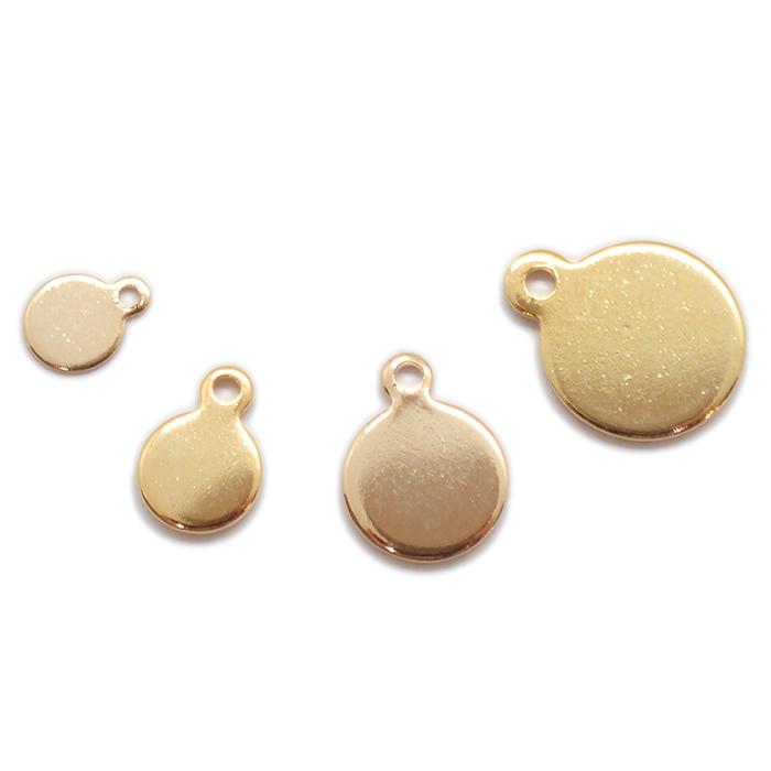 ステンレス 貼り付けパーツ【ゴールド 5mm / 6mm】 10枚売り 金具 プレート 接着 ハンドメイド