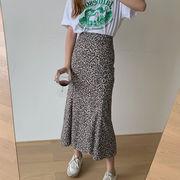 韓国 韓国ファッション レディース スカート レオパード柄 マーメイド ハイウエスト