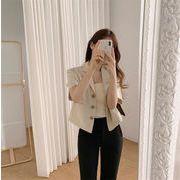 センスアップ 韓国ファッション 韓国 レトロ 気質 スリム 単体ボタン 半袖 コットン リネン スーツ