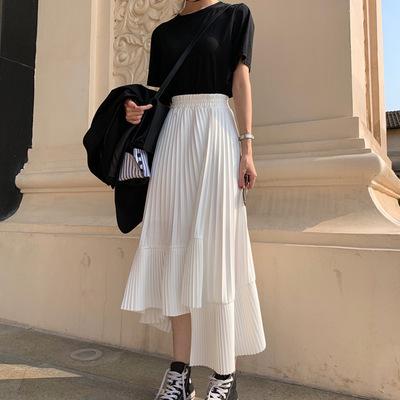 2021年春夏新作 レディース 韓国風 スカート ロング   シフョン 通勤 ファッション 2色フリー