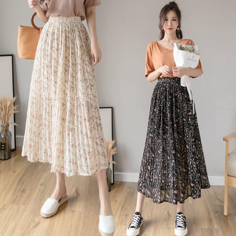2021年春夏新作 レディース 韓国風 スカート シフョン ゆったりする 通勤 気質 花柄 2色フリー