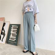 韓国 韓国ファッション カジュアル パンツ テーパード 春夏 ストレートパンツ ゴムウエスト ルーズ