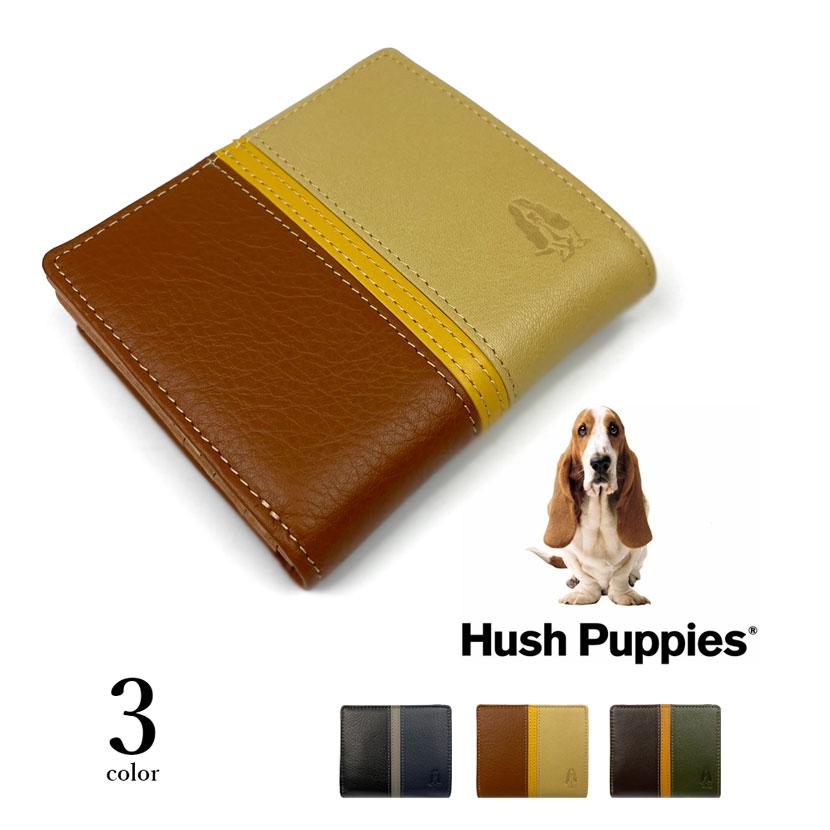 全3色 Hush Puppies ハッシュパピー リアルレザー トリコロールカラー 二つ折り財布 ファスナー小銭入れ
